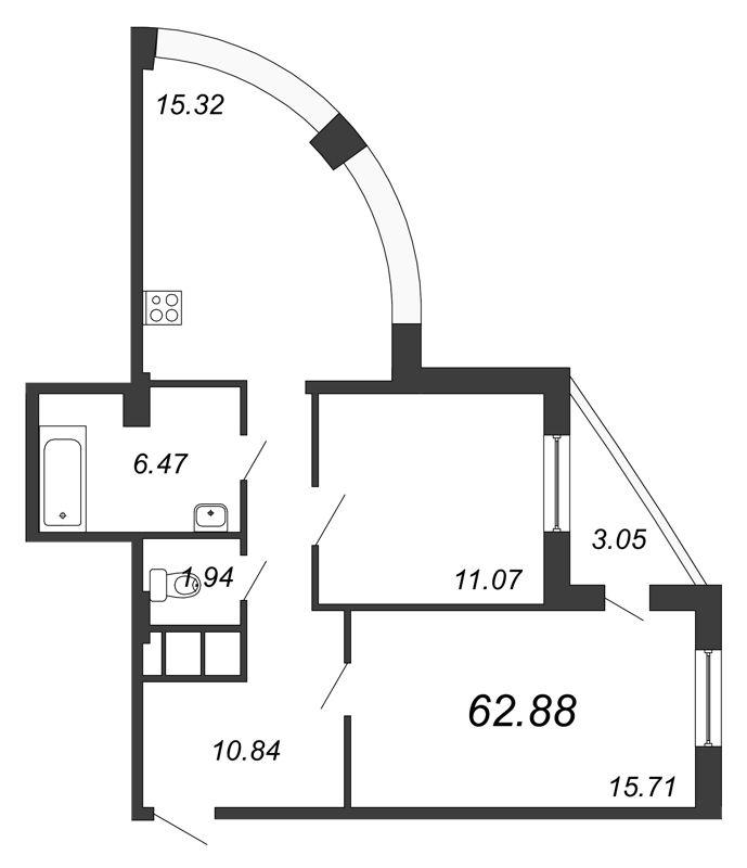 Планировка Двухкомнатная квартира площадью 62.88 кв.м в ЖК «Петр Великий и Екатерина Великая»