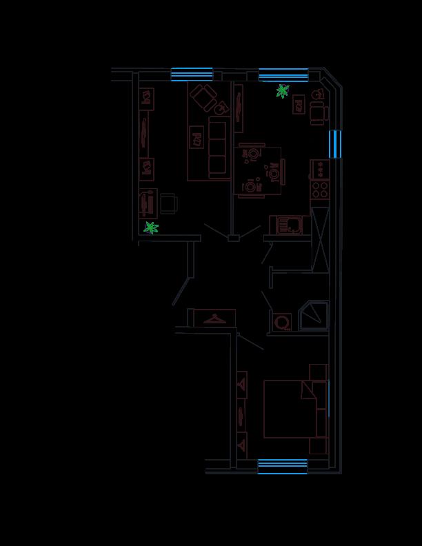 Планировка Двухкомнатная квартира площадью 54.02 кв.м в ЖК «Петр Великий и Екатерина Великая»