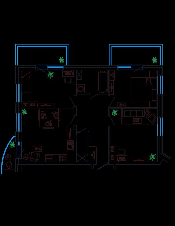 Планировка Трёхкомнатная квартира площадью 86.61 кв.м в ЖК «Петр Великий и Екатерина Великая»