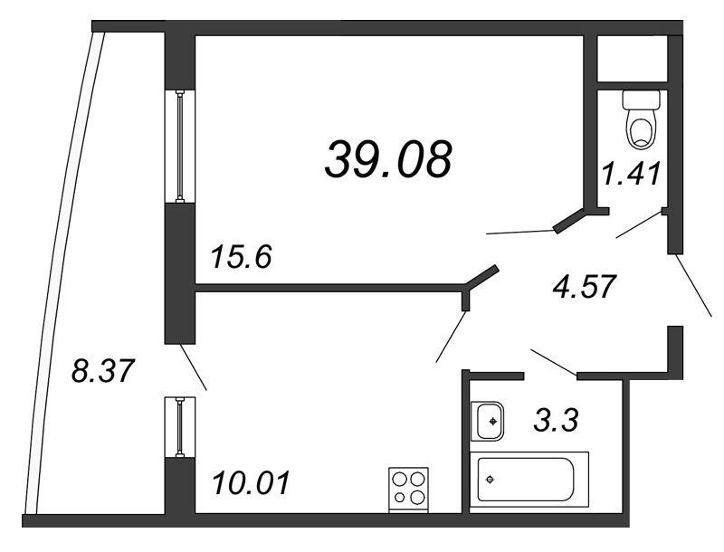 Планировка Однокомнатная квартира площадью 39.08 кв.м в ЖК «Петр Великий и Екатерина Великая»