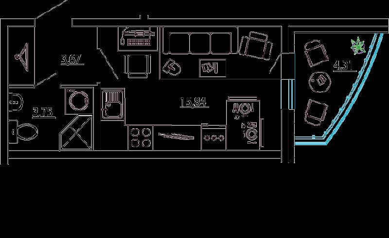 Планировка Студия площадью 25.42 кв.м в ЖК «Петр Великий и Екатерина Великая»