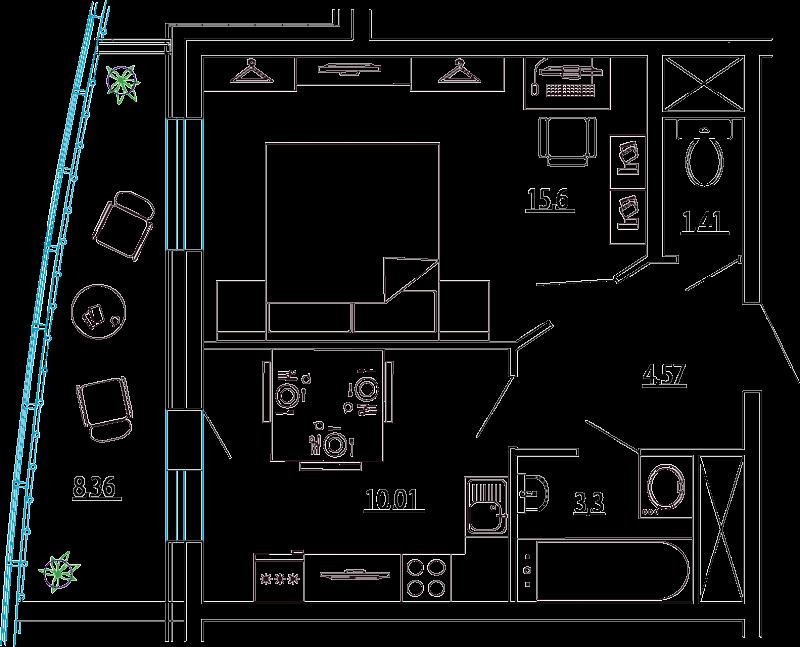 Планировка Однокомнатная квартира площадью 39.07 кв.м в ЖК «Петр Великий и Екатерина Великая»