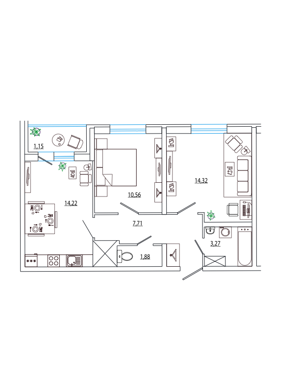 Планировка Двухкомнатная квартира площадью 53.11 кв.м в ЖК «Петр Великий и Екатерина Великая»