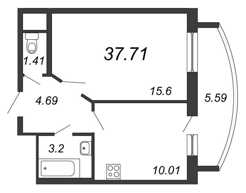 Планировка Однокомнатная квартира площадью 37.71 кв.м в ЖК «Петр Великий и Екатерина Великая»