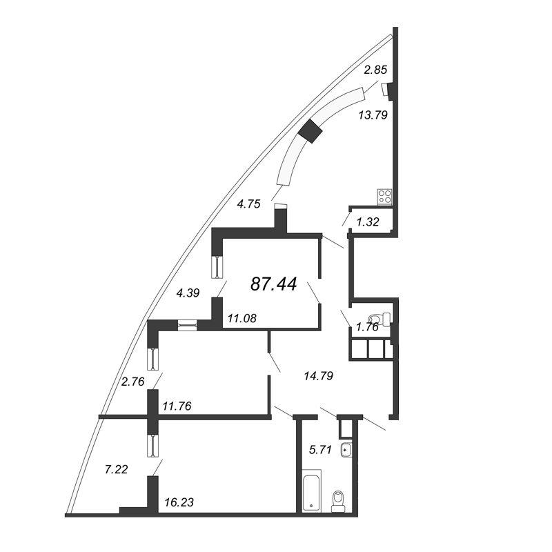 Планировка Трёхкомнатная квартира площадью 87.44 кв.м в ЖК «Петр Великий и Екатерина Великая»
