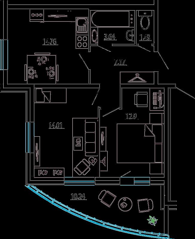 Планировка Двухкомнатная квартира площадью 59.09 кв.м в ЖК «Петр Великий и Екатерина Великая»