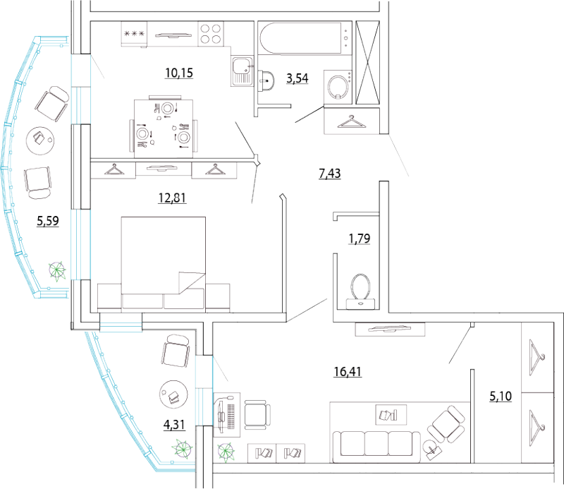 Планировка Двухкомнатная квартира площадью 62.19 кв.м в ЖК «Петр Великий и Екатерина Великая»