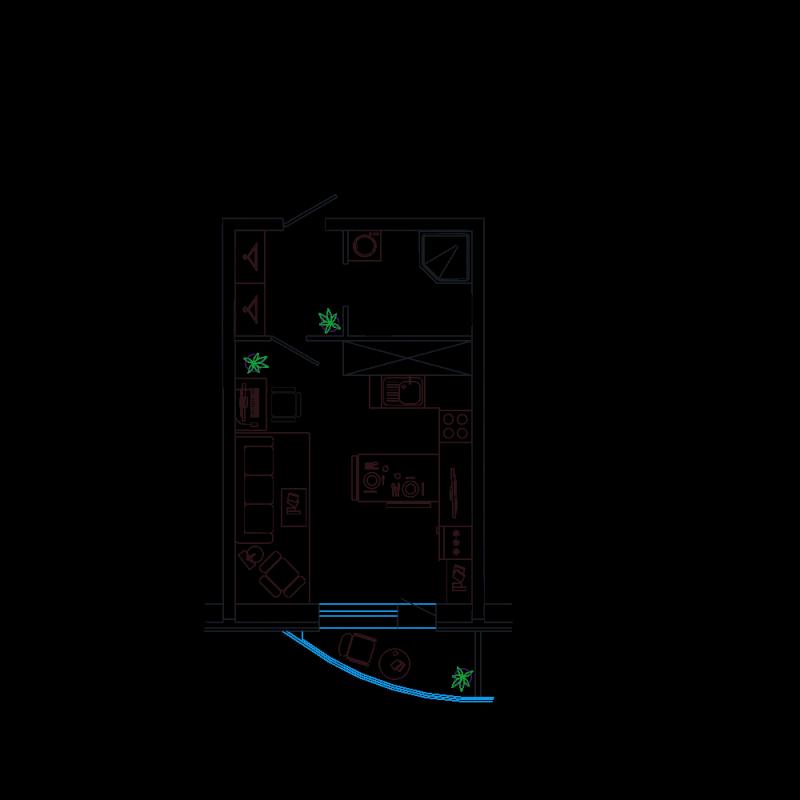 Планировка Студия площадью 23.05 кв.м в ЖК «Петр Великий и Екатерина Великая»