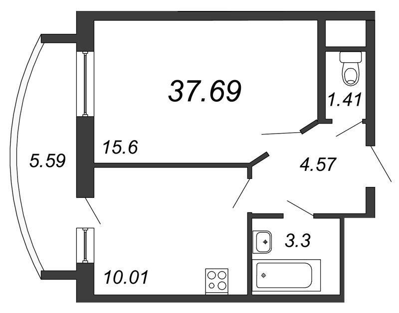 Планировка Однокомнатная квартира площадью 37.69 кв.м в ЖК «Петр Великий и Екатерина Великая»
