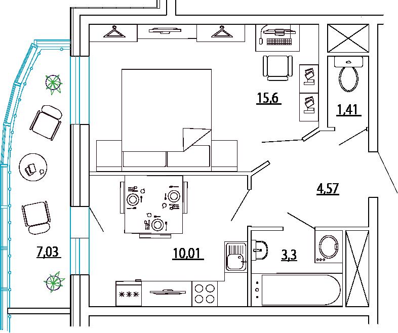 Планировка Однокомнатная квартира площадью 38.41 кв.м в ЖК «Петр Великий и Екатерина Великая»