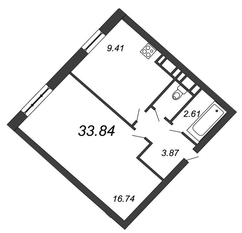 Планировка Однокомнатная квартира площадью 33.84 кв.м в ЖК «Петр Великий и Екатерина Великая»