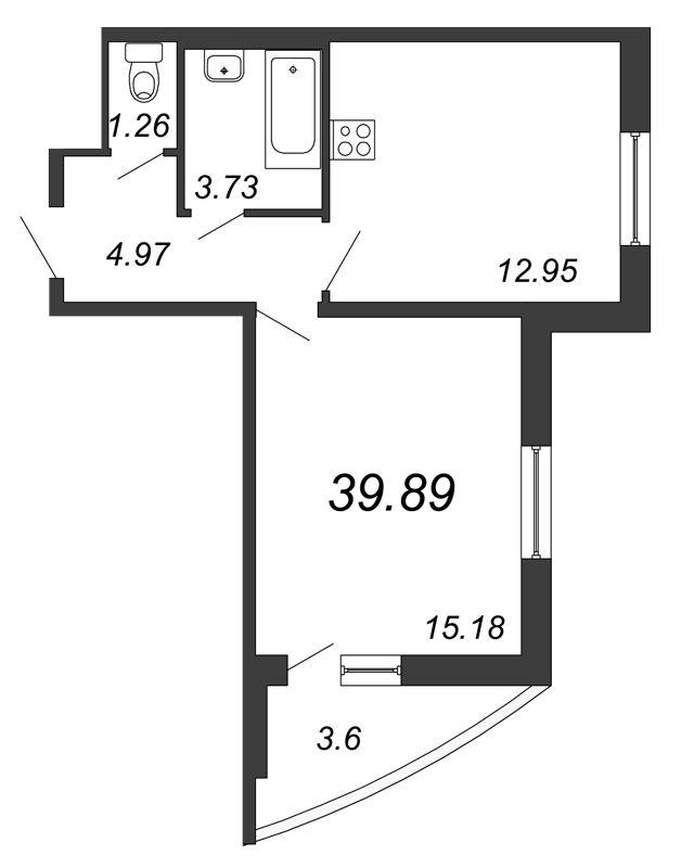 Планировка Однокомнатная квартира площадью 39.89 кв.м в ЖК «Петр Великий и Екатерина Великая»