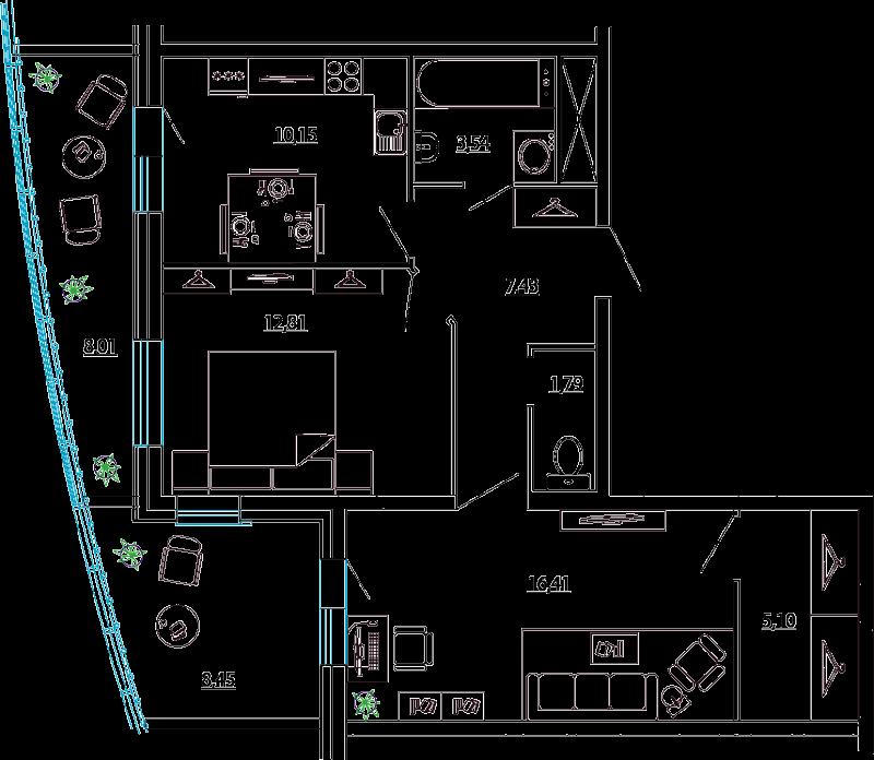 Планировка Двухкомнатная квартира площадью 65.47 кв.м в ЖК «Петр Великий и Екатерина Великая»